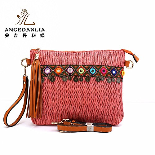 Straw Bag Tote- Angedanlia Woman Handmade Purse Summer Beach Woven Shoulder Bag 3694 (Pink)