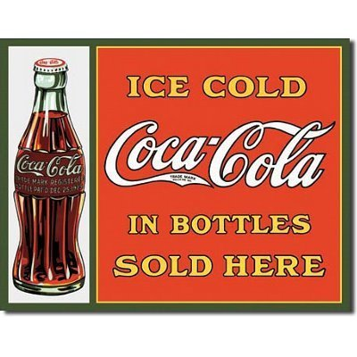 COKE Sold Here in Bottles Tin Sign 16W x 12.5H , 16x13 by Poster Discount