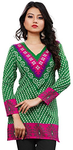 Womens India Tunic Top Kurti Printed Blouse Indian Clothing – M…Bust 36 inches, Green