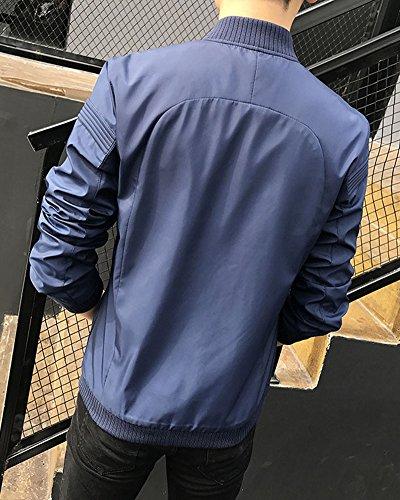 Maschile Filettato Blu Slim Stitching Uomo Marino Giacca Moda Giacche Casual 66HqY