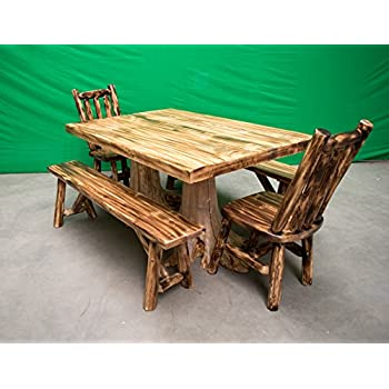 Amazon.com - Rustic White Cedar Log Dining Table & 6 Chairs Set ...