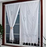 Cotton Curtains ZHH Handmade Cotton Crochet Lace Curtain Hollow Flower Curtain 27 by 59-Inch(One Piece), White