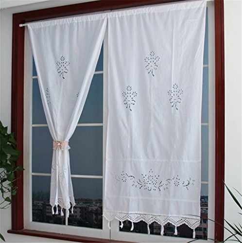 ZHH Handmade Cotton Crochet Lace Curtain Hollow Flower Curtain 27 by 59-Inch(One Piece), White