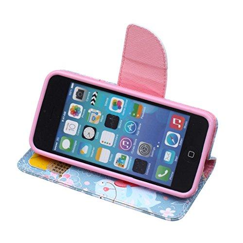 iPhone 5C Coque , Apple iPhone 5C Coque Lifetrut® [ Chat ] [Béquille Feature] [Slim Fit] Prime PU Housse en cuir Flip Cover stand avec carte Slots étui en cuir Coque Etui pour Apple iPhone 5C