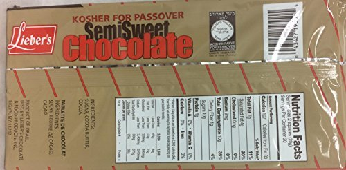 Lieber's Semisweet Chocolate Kosher For Passover 14 Oz. Pack Of 6.