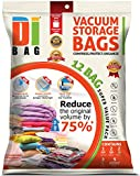 """DIBAG ® 12 Bags Pack Set - Vacuum Storage Space Saver Bags. 1 Super Jumbo (51""""X40"""")+ 2 Jumbo (47""""X32"""")+ 2 XL (35""""X28"""") + 2 Large (28""""X20"""") + 5 Suitcase Travel Roll-up Bags (23.6''X15.7'') Without Suction or Valve. Improved 2016"""
