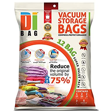 DIBAG 12 Bags Pack Set - Vacuum Storage Space Saver Bags. 1 Super Jumbo (51 X40 )+ 2 Jumbo (47 X32 )+ 2 XL (35 X28 ) + 2 Large (28 X20 ) + 5 Suitcase Travel Roll-up Bags (23.6''X15.7'') Without Suction or Valve. Improved 2016