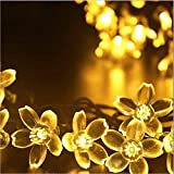 Touber Outdoor Solar String Light 50 Led Solar Powered Waterproof Starry Fairy Peach Flower Decorative String Lights for Indoor, Wedding, Home, Garden, Patio, Lawn, Party, Fence, Outside, Holiday, Christmas and Halloween Decorations (Warm White)