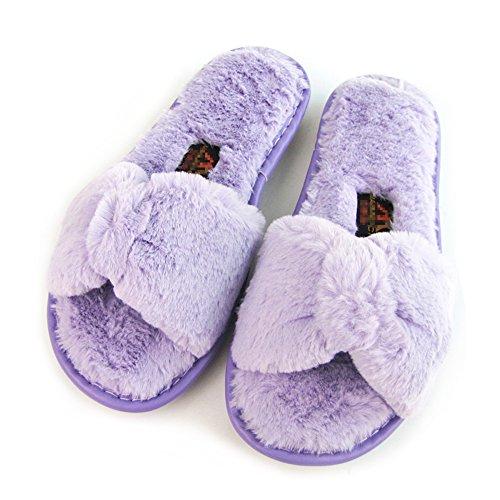 Plat Bowknot Sliders Flop En Fluffy Chaussures A Hiver Fourrure Slipper Femme Fausse violet Flip Sandal Imixcity Sn8EqwFUtx