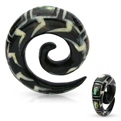 LOVE Black Organic Natural Water Buffalo Horn Bone Spiral Taper With Mother of Pearl Inlay - 2G/6.5mm