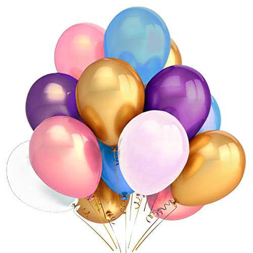 500 PCS Pearlized Balloon, Helium Latex Balloons for Party Wedding Birthday Decoration, Assorted Color Premium Quality by IDAODAN (Assorted Birthday Balloons Bouquet)