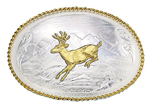 Montana Silversmiths Mountain Scene Western Belt Buckle w/ Running Deer - Silver Gold - 3.75 X 2.75