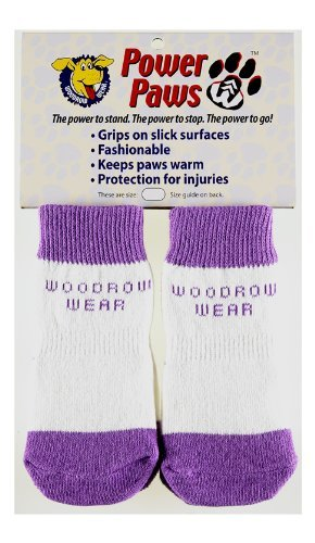 Woodrow Wear Power Paws Traction Socks for Dogs, X-Large, Purple with White Stripe by Woodrow Wear (Image #2)