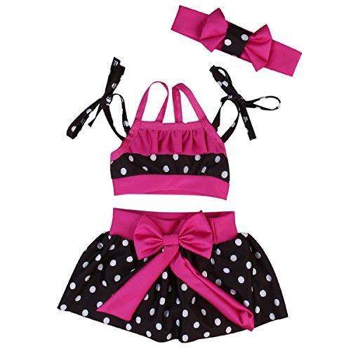 Baby Girls 3 Pcs Swimwear Red Halter Top+Bowknot Polka Dots Bottom+Headband Bikini Sets (12-18M) 3 Piece Polka Dots Bikini