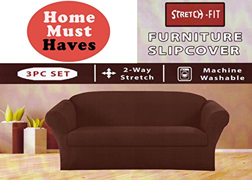 Homemusthaves STRETCH FORM FIT - 3 Pc. Slipcovers Set, Couch/Sofa + Loveseat + Arm Chair Covers – BROWN
