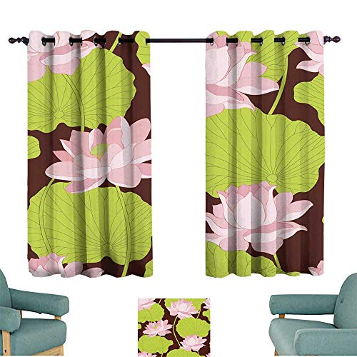 Warm Family Fashion Curtain Seamless Wallpaper Pattern with Lotus Darkening and Thermal Insulating
