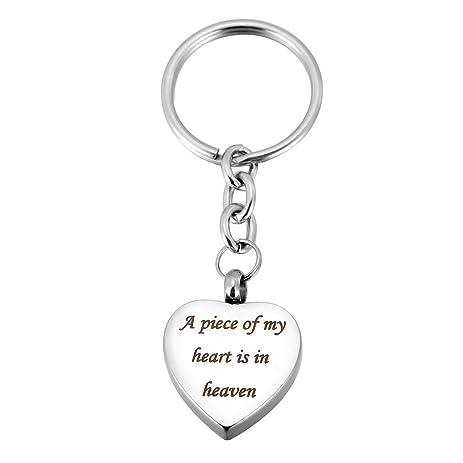 VALYRIA Stainless Steel Keychain - Memorial Ashes Always in My Heart Charm Silver Cremation Urn Keepsake JlkLRsNUq1