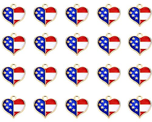 20Pcs Red White and Blue American Flag Star Heart Shaped Charm Pendant Gold Plated Dainty Ornament Synthetic Glass Living Memory Jewelry Making Independence Day Decoration (Hearts) -