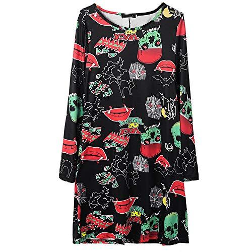ThsiJJ Womens Halloween Novelty Skull and Lips Print Dresses Long Sleeve Casual Loose Dress Masquerade O Neck Mini Dress Black]()