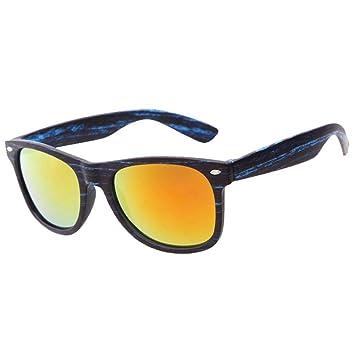 Lunettes de soleil femme homme - Kolylong Imitation Grain de bois Carré Cru Rond Miroir Des lunettes de soleil (C3) 2b4H4y8Iyo