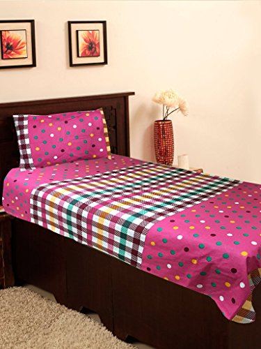 Homefab India 100% Cotton Single BedSheet with 1 Pillow Cover