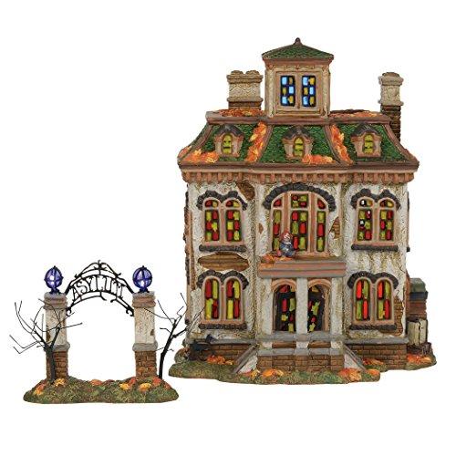 Department56 Snow Village Halloween Last Laugh Asylum Lit Building 10.75