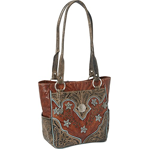 American West Desert Wildflower Zip Top With Pockets Shoulder Bag,Mocha Tan/Distressed Brown/Blue,One Size by American West