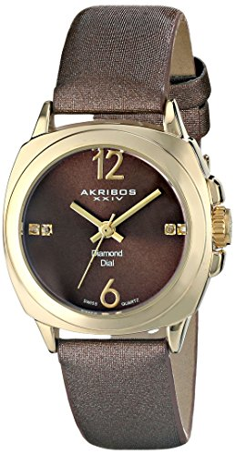 Akribos XXIV Women's AK742YG Swiss Quartz Movement Watch with Bronze Sunburst Effect Dial and Bronze Satin over Nubuck Leather Strap