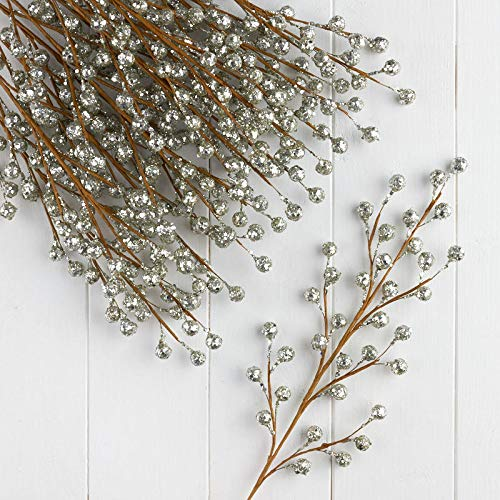 Factory Direct Craft Silver Glittered Artificial Berry Sprays | Set of 12