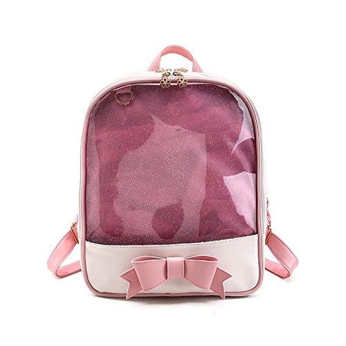 Espeedy Las mujeres verano durce caramelo Color PVC Transparente Mochila Bowknot Zipper Bag Niñas Escuela Mochilas rosa