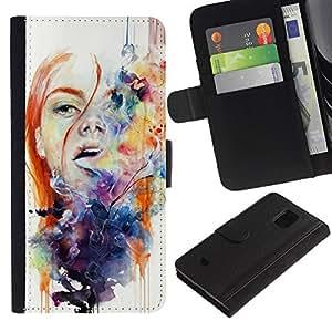 For Samsung Galaxy S5 Mini(Not S5), SM-G800 Case , Spring White Watercolor Redhead - la tarjeta de Crédito Slots PU Funda de cuero Monedero caso cubierta de piel