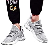 ★QueenBB★ Mens Sneakers Ultra Lightweight Breathable Mesh Street Sport Walking Running Gym Shoes Knit Shoes White