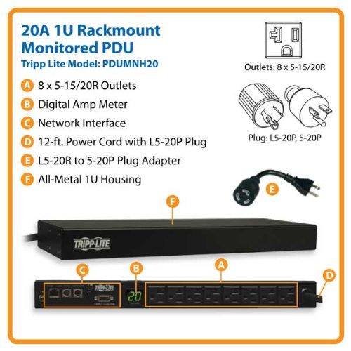 Tripp Lite PDU Monofásico Monitoreable, 1.9kW 20A 120V, para instalación Horizontal en 1U de Rack, 8 Tomacorrientes NEMA 5-15/20R, entrada NEMA L5-20P con ...