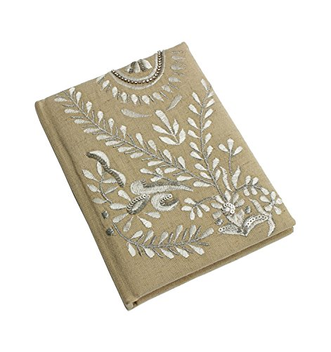 Back To School Hand Embroidered Journal Diary Travel Record Book with Floral Motif (7 x 5 inches)