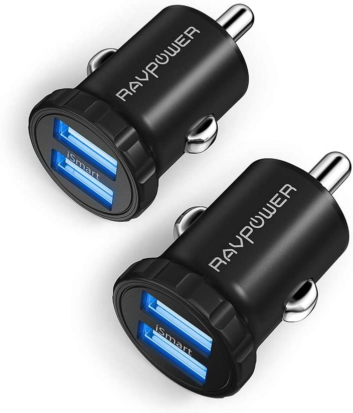 Car Charger [2-Pack] RAVPower 24W 4.8A Mini Dual USB Car Adapter, Compatible with iPhone 11 Pro Max XS Max XR X 8 7 Plus, Ipad Pro Air Mini and Galaxy S9 S8 Plus, Edge Note Series and More (Black)