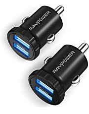 RAVPower Car Charger, 2-Pack Mini USB Car Adapter 24W 4.8A with Dual Port iSmart 2.0 for iPhone XS/XR/XS Max, Galaxy S9/S8/Note 8 and More-Black