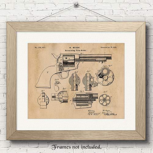 Original Colt Peacemaker Revolver Gun Patent Art Poster Prints - 11x14 Unframed - Great Wall Art Decor Blueprints Gifts for Firearm Collectors, Gun Owners, Man Cave, Garage, Office, Big Boy's Room from Stars Arts