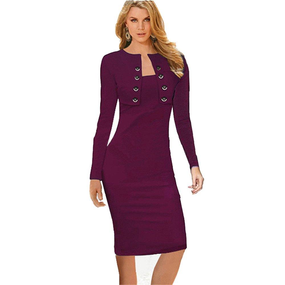 COCO clothing Damen Zweireiher Kombiniertes Formell Business Midi Kleid Langarm Knielange Wickelkleider Einfarbige Bleistiftkleid Frauen Etuikleider