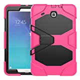 Galaxy Tab E T560 Case, Defender Armor Series Heavy Duty Military Rugged With Kickstand Full Body Protective Case for Samsung Galaxy Tab E T560 9.6 inches [SM-T560] (Hot Pink)