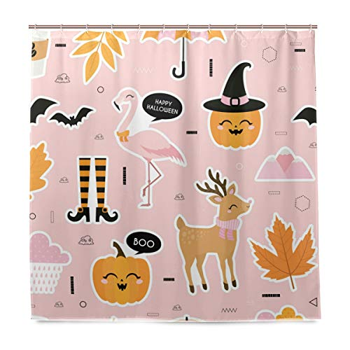 OREZI Shower Curtain for Bathroom Waterproof Mildew Resistant Anti-Bacterial Polyester Fabric Flamingo Celeb Halloween Curtain for Bathroom,180 x 180 cm with 12 Hooks -