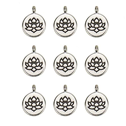 WSSROGY 40 Pcs Silver Lotus Flower Charms Yoga Charms Pendant for Jewelry Making Bracelet ()