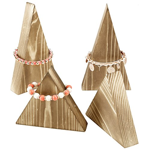 Set of 4 Natural Wood Triangle Necklace Bracelet Storage Stand, Retail Jewelry Display Rack