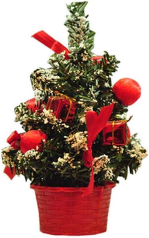 VOSAREA Mini Árbol De Navidad con Lazos Rojos Y Adornos Decoración Navideña para Mesas Y Escritorios: Amazon.es: Hogar