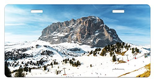 zaeshe3536658 Mountain License Plate, Majestic Mountain Northerns Italy European Mediterranean Snowy Peak Nature, High Gloss Aluminum Novelty Plate, 6 X 12 Inches, Brown Blue White by zaeshe3536658