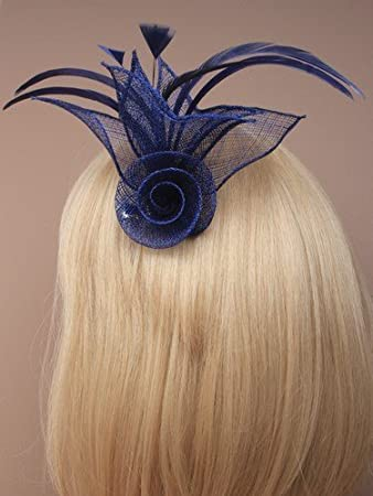 9992 Net flower fascinator with feathers in Navy 284abb3ad5f