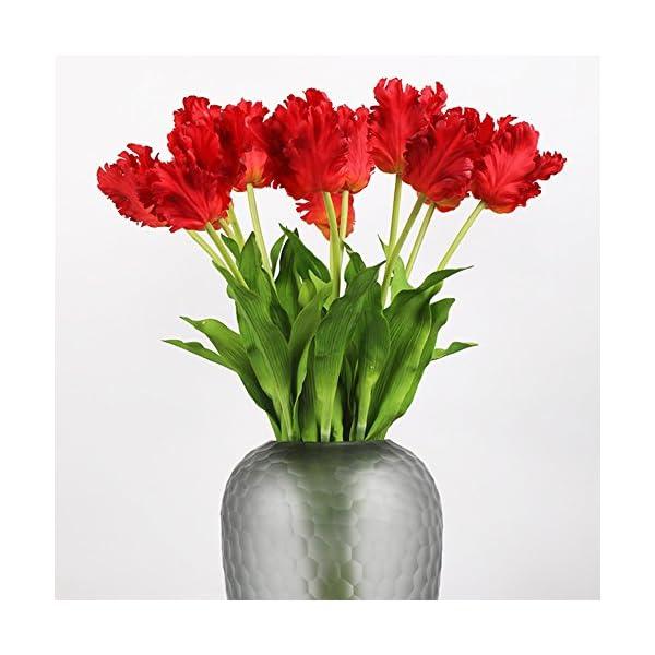 LI HUA CAT Single Head Parrots Tulips 2pcs Silk Cloth Artificial Flowers for Home Decor Wedding Decoration,Table Decor Living Room Decor Shop Decor (Red)