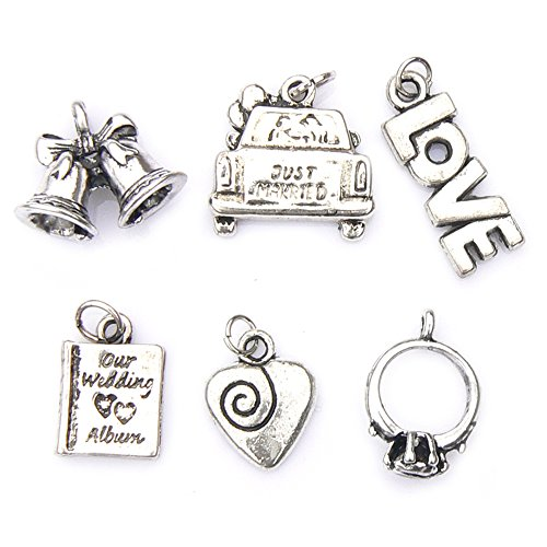 Wedding Theme Charms - Silver Plated - Set of 6