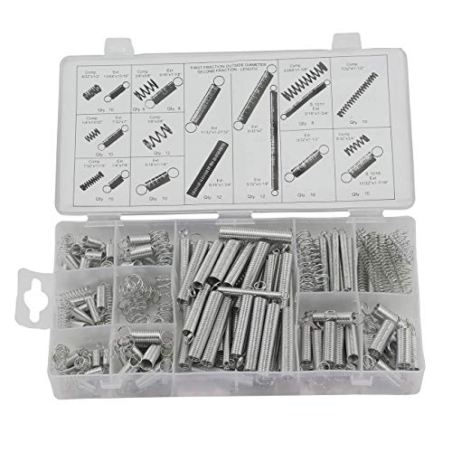 s Spring Assorted Kit Metal Electrical Hardware Drum Extension Tension Springs Extended and Compressed Spring Assortment ()