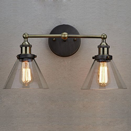 Claxy Ecopower Simplicity Industrial Edison Antique Glass 2 Light Wall Sconces Fixture