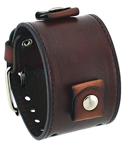 Nemesis #BL-BBB Wide Dark Brown 24mm Lug Width Cuff Wrist Watch Band